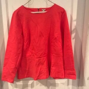 J.Crew pink peplum long sleeve shirt